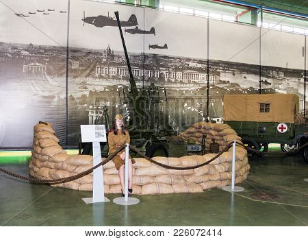 St. Petersburg, Russia - 7 May, Reinforced Automatic Anti-aircraft Gun, 7 May, 2017. Visitor In The