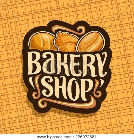 Vector Logo For Bakery Shop, Whole Loaf Of Cereal Bread, Fresh French Croissant, German Krapfen Past