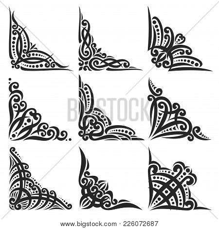 Vector Set Of Decorative Black Corners On White For Creating Frames, Ornate Decoration With Flourish