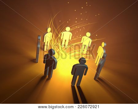 People icons gathering around a glowing orange light source. 3D illustration.