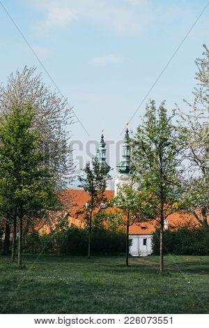 Beautiful view from the Petrin Garden in springtime, Prague, Czech Republic