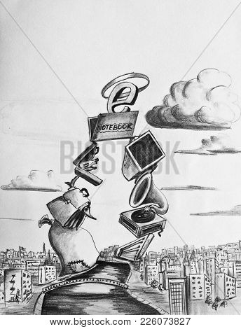 Allegory Of The Triumph Of The Internet. Caricature
