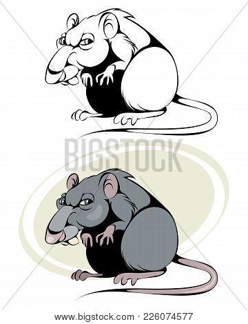 Vector Illustration Of A Cartoon Rat On White