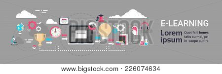 E-learning Education Online Background With Copy Space Global Distance Learning Concept Horizontal B