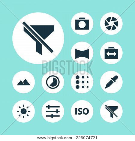 Picture Icons Set With Iso, Shutter, Brightness And Other Photography Elements. Isolated Vector Illu