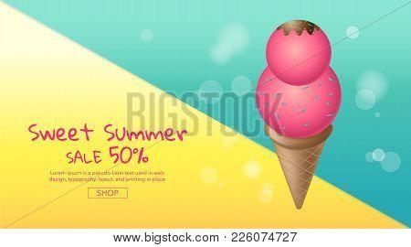 Hot Summer Sale , Cartoon, Colorful Ice Cream ,  Layout Design,  Banner,  Sweet ,template Design, Ve