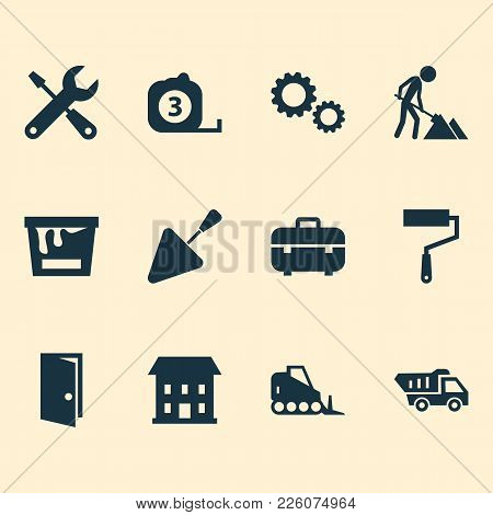 Building Icons Set With House, Construction Works, Toolbox And Other Cogwheel Elements. Isolated Vec