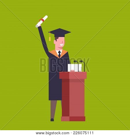 Happy Student In Graduation Cap And Gown Standing At Tribune Hold Diploma On Green Background Flat V