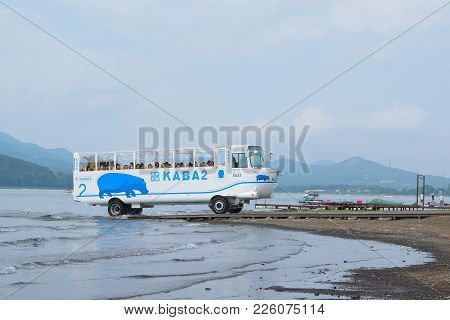 Yamanaka, Japan : July 16, 2017 - Amphibian Tourist Bus On Service At Lake Yamanaka In Japan Taken O