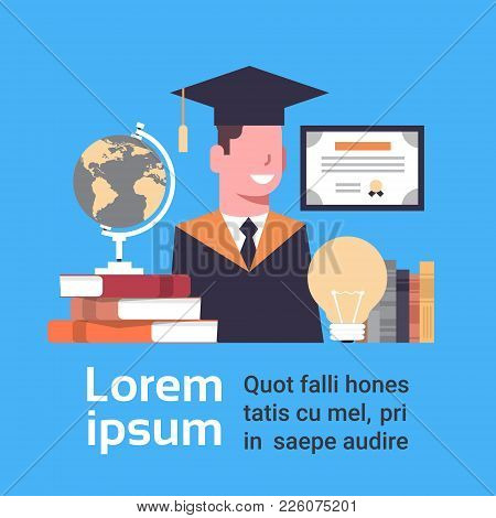 Graduation Concept Student In Cap And Gown With Education Icons Over Background With Copy Space Flat