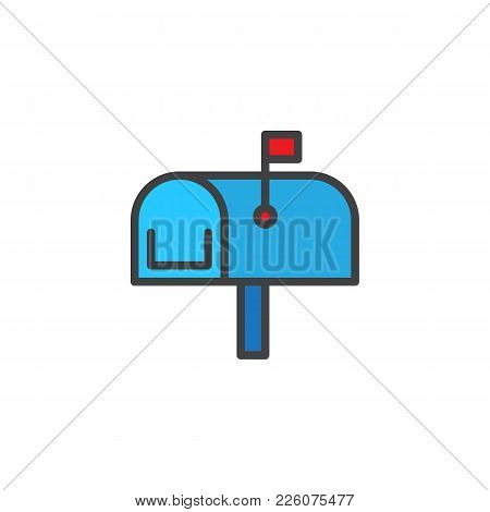 Mailbox Filled Outline Icon, Line Vector Sign, Linear Colorful Pictogram Isolated On White. Mail Box
