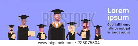 Group Of Mix Race Students In Graduation Cap And Gown Hold Diploma Over Background With Copy Space F