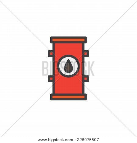 Oil Barrel Filled Outline Icon, Line Vector Sign, Linear Colorful Pictogram Isolated On White. Symbo