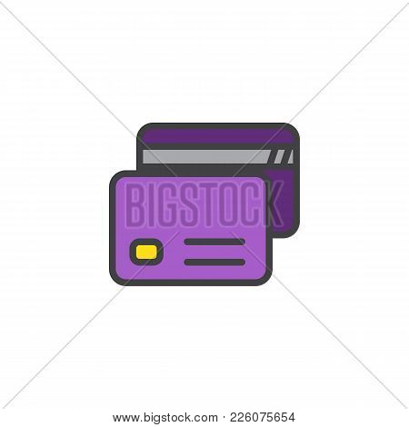 Credit Cards Filled Outline Icon, Line Vector Sign, Linear Colorful Pictogram Isolated On White. Pay
