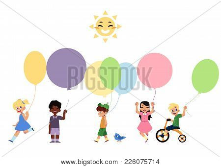 Set Of Children Playing With Balloons, Cartoon Vector Illustration Isolated On White Background. Set