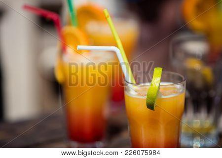 Alcohol Orange Daiquiri Cocktail On Beach Bar