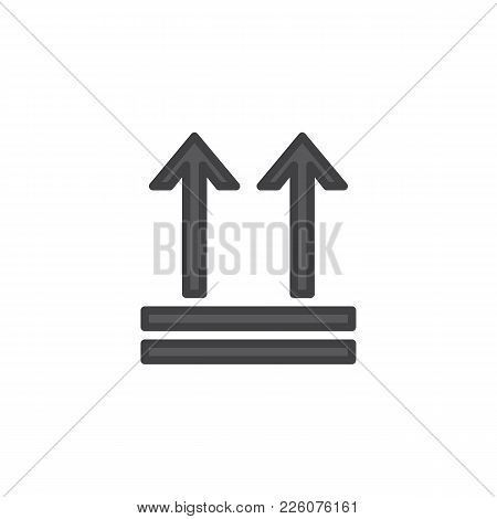 Keep Up, Package Handling Label Filled Outline Icon, Line Vector Sign, Linear Colorful Pictogram Iso