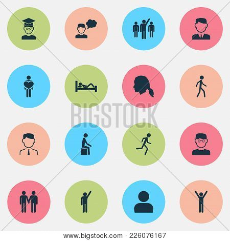 Human Icons Set With Leader, Jogging, Student And Other Manager Elements. Isolated Vector Illustrati