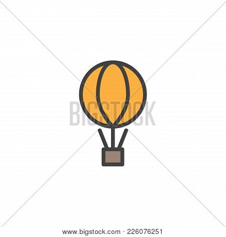 Air Balloon With The Parcel Box Filled Outline Icon, Line Vector Sign, Linear Colorful Pictogram Iso