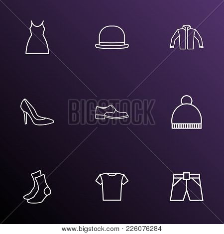Dress Icons Line Style Set With Jacket, Beanie, Panama And Other Half-hose Elements. Isolated Vector