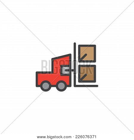 Forklift Truck With Lifted Cardboard Boxes Filled Outline Icon, Line Vector Sign, Linear Colorful Pi