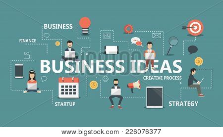 Business Ideas Banner. Idea Of Business, Success And Motivation. Flat Vector Illustration