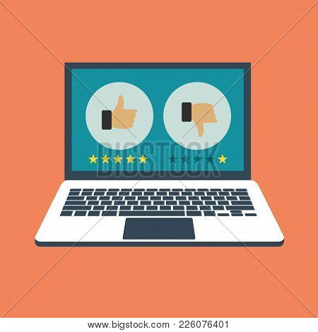Rating On Customer Service Illustration. Website Rating Feedback And Review Concept. Lap Top With Li
