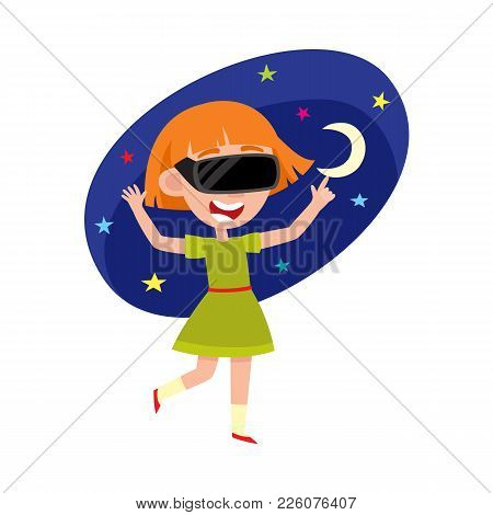 Pretty Teenage Girl Wearing Virtual Reality Headset, Simulator Device, Cartoon Vector Illustration I