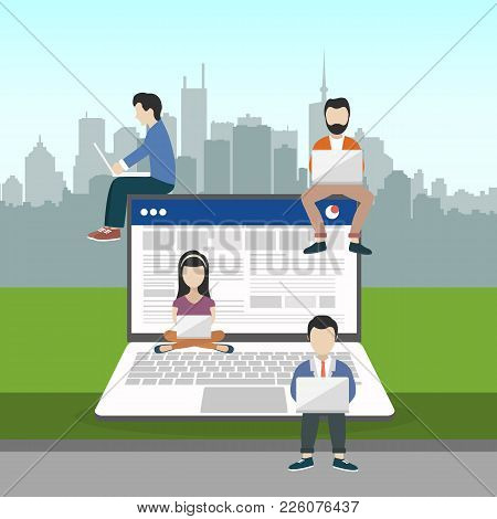People Sitting On Big Notebook. Social Network Web Site. Surfing Concept Illustration Of Young Peopl