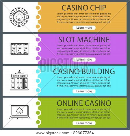 Casino Web Banner Templates Set. Gambling Chip, Slot Machine, Casino Building, Online Poker. Website