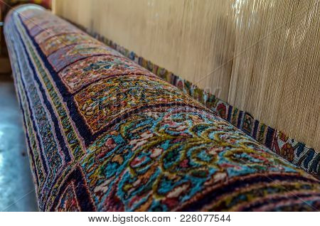 Multicolor Persian Carpet Inside In The Manufacture From Srinagar, Jammu And Kashmir, India.