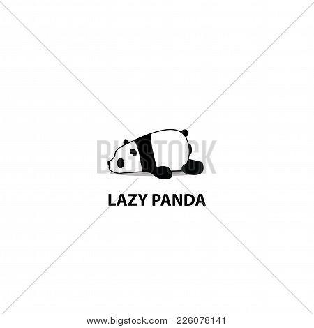 Lazy Panda Icon, Logo Design Vector Illustration
