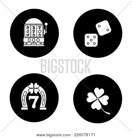 Casino Glyph Icons Set. Dice, Lucky Seven Game, Four Leaf Clover, Slot Machine. Vector White Silhoue