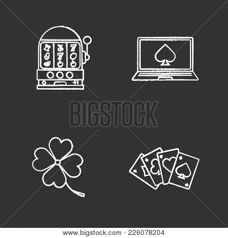Casino Chalk Icons Set. Slot Machine, Four Leaf Clover, Online Casino, Four Aces. Isolated Vector Ch