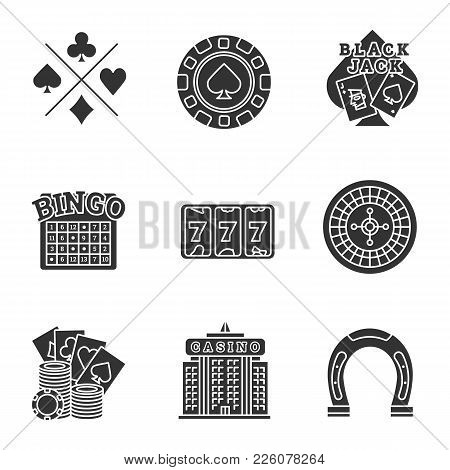 Casino Glyph Icons Set. Cards Suits, Gambling Chip, Blackjack, Bingo, Lucky Seven, Roulette, Casino