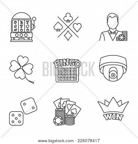 Casino Linear Icons Set. Slot Machine, Croupier, Four Leaf Clover, Cards Suits, Bingo, Surveillance