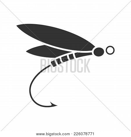 Fly Fishing Glyph Icon. Insect Bait. Dragonfly Lure. Silhouette Symbol. Negative Space. Vector Isola