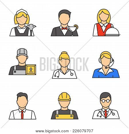 Professions Color Icons Set. Maid, Barman, Waitress, Loader Man, Courier, Doctor, Call Center Operat