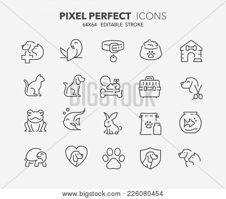 Thin Line Icons Set Of Pets And Veterinary. Outline Symbol Collection. Editable Vector Stroke. 64x64