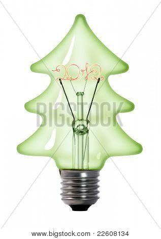 christmas tree tungsten light bulb lamp on white background