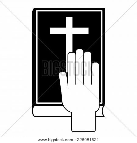 Human Hand On The Bible. Oath Concept. Vector Illustration