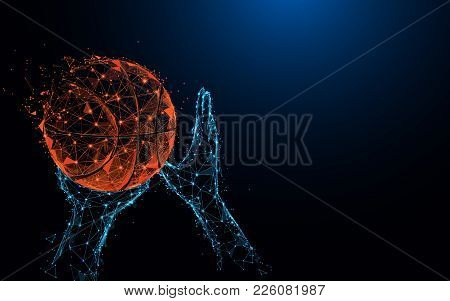 Abstract Basketball Player Hands Shooting Basketball Form Lines And Triangles, Point Connecting Netw