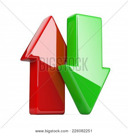 Shiny And Glossy Green And Red Up, Down Arrow. 3d Illustration Isolated Over White Background, Three