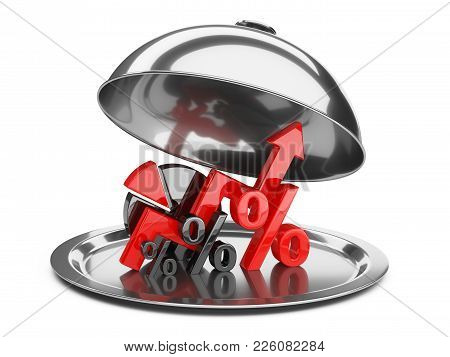 Graph, Diagram And Percent Signs On A Restaurant Cloche With Open Lid. Business Concept Of Success O