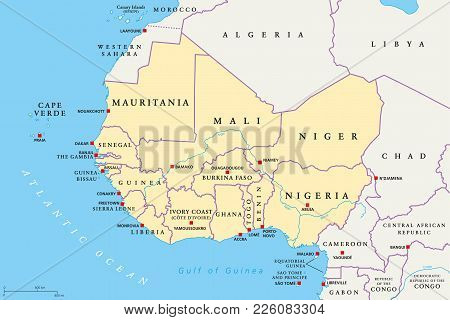 West Africa Region, Political Map. Area With Capitals And Borders. The Westernmost Countries On The