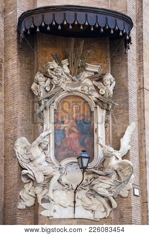 Largo Pietro Di Brazza. Classical Ancient Painting Of The Nativity Of Jesus On Old Roman Building. R