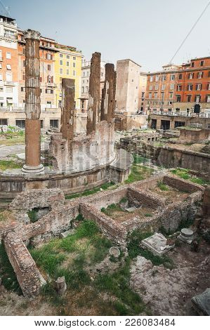Largo Di Torre Argentina Square In Rome, Italy With Four Roman Republican Temples And The Remains Of