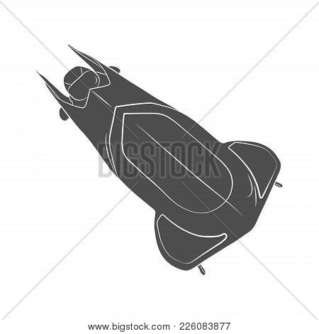 Bobsleigh For Two Athletes. Sports Equipment For The Bobsleigh Race. Winter Sport On A White Backgro