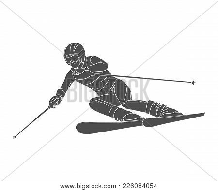 Skiing. Descent Giant Slalom Athlete Winter Sports On A White Background. Vector Illustration.