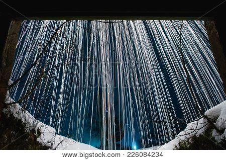 Silver Sparks. White Sparks On The Night Blue Sky. White Snow.